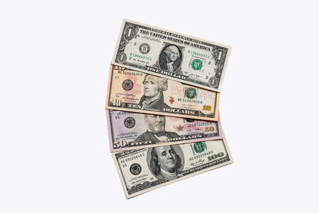 American dollars banknotes background on white background.