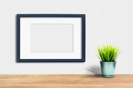 Vintage wooden Photo Frame Mock Up on white background. Wooden Table.