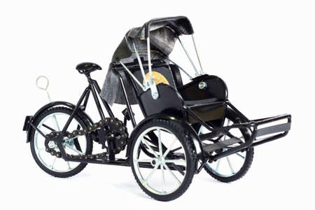 trishaw: The split tricycle white background.