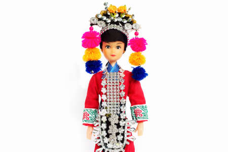 ha: Tribal dolls isolated white backdrop.