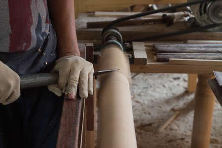 turning: Carpenters Wood Turning Stock Photo