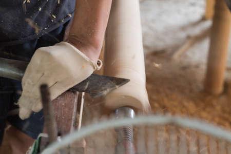 wood turning: Carpenters Wood Turning Stock Photo