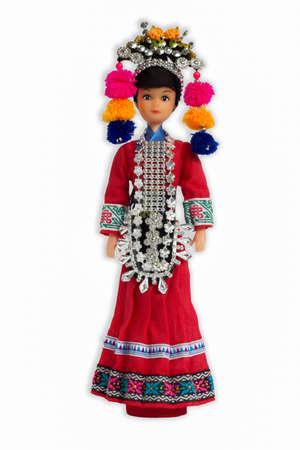 homespun: Ethnic dolls isolated white backdrop.