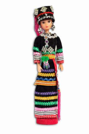 ha: Ethnic dolls isolated white backdrop.