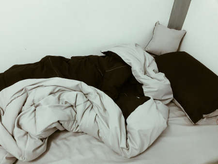 pillows: Gray and dark gray linen, blankets, mattresses sleeping time.