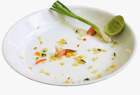 Dirty dishes, empty food isolated white backdrop. Stock Photo
