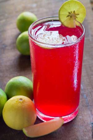 Red lemon soda cold water