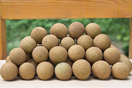 lon: Longan pile lot Lamphun province in Thailand Stock Photo