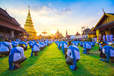 commissioner: Traditional dance of northern Thailand to give young girls a dance. This is a show dedicated to respect for Buddhism,13 MAY 2016 Lamphun Thailand. Editorial