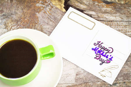 Greeting cards and coffee cup concept Mother's Day.
