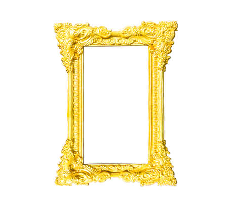 textured wall: Golden frame isolated white background.