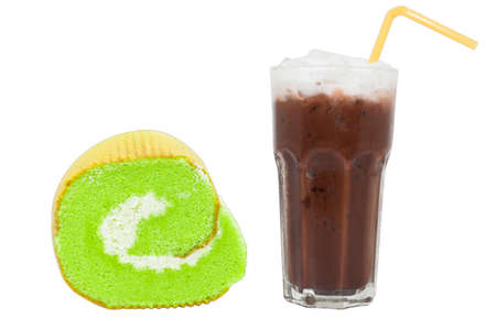 Cocoa and Pandan roll isolating white background Stock Photo