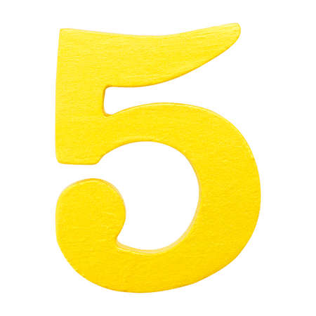 Golden yellow wood number 5 or five  isolated white background.One of full number set