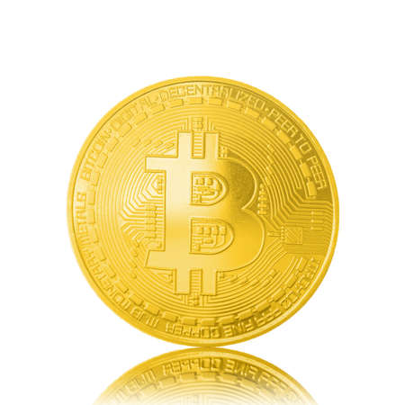 Bitcoin.symbol,Digital currency Under the supervision of the computer network.Golden  bitcoin  isolated white background.
