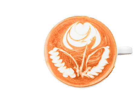Top view. Hot coffee latte art isolated white background.