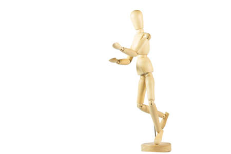 Robot wood Toys Yellow and white background 스톡 콘텐츠