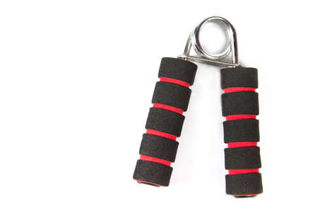 Black and red hand trainer,Hand exercise isolated on white background Stok Fotoğraf
