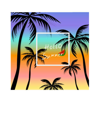 Summertime background silhouette with coconut tree, sky and sunset. Illustration
