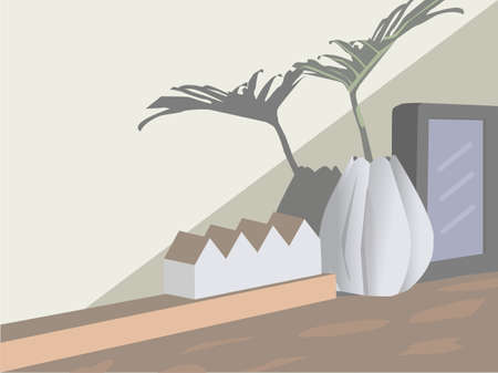 Vase, white and black frame. A model house placed on the table interior style cafe.