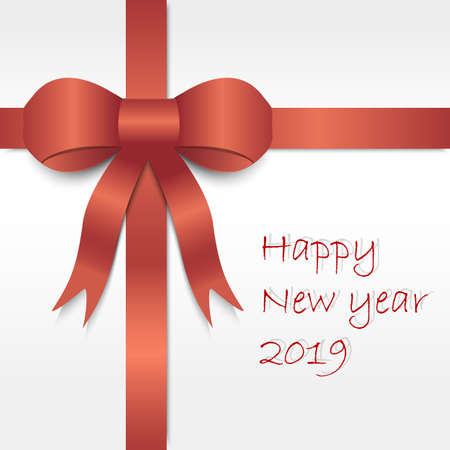 Luxury Red Satin Ribbon On White Background With Happy New Year ...