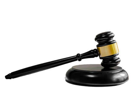 Hammer President isolated white background, Sign of lawyer