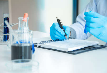 Writing Reporting of Medical or science medical in laboratory room research performs tests with liquid, Experimental Drug Treatment