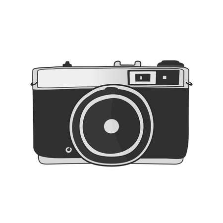 Line drawings old retro film camera isolated on white background vector illusration Illustration