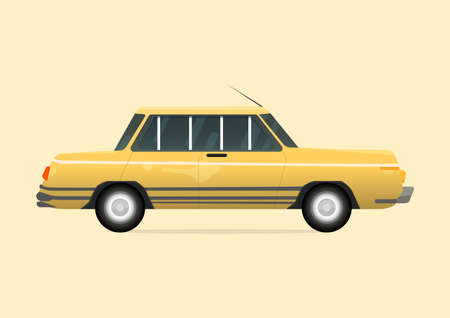 Yellow of Vintage Car ,Vehicle transport Object symbol Retro style flat design .Vector illustration
