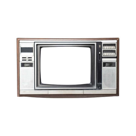 Retro style old television from 1950, 1960 and 1970s. blank space white screen  isolated white background Reklamní fotografie