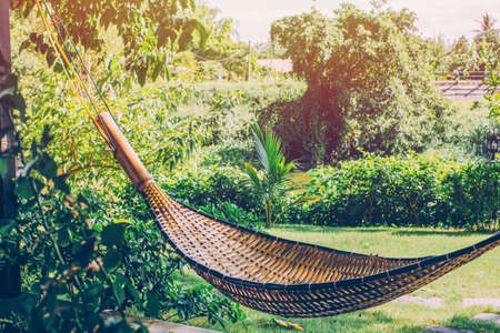 Bamboo crib relax in garden and nature background.no people