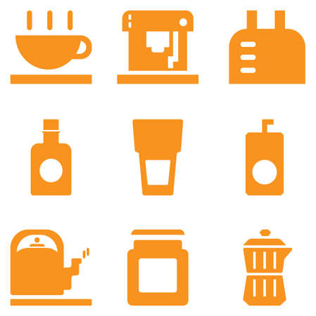 Food and drink Equipment with cup machine coffee kettle bottle glass and moka pot. set orange color Flat icon design vector for web Çizim
