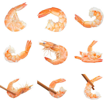 Set caridean shrimps of boiled prawn seafood and wooden chopsticks isolated white background Banco de Imagens - 132108919