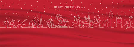 Merry Christmas and happy 2020 with line art drawing a white cartoon design with Christmas trees, deer Santa Claus sitting on the rickshaw giving away gifts and socks on red fabric vector illustration