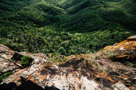 Panoramic views from the cliffs down into deep mountain forests with green trees. Concept of adventure walking and nature exploration.