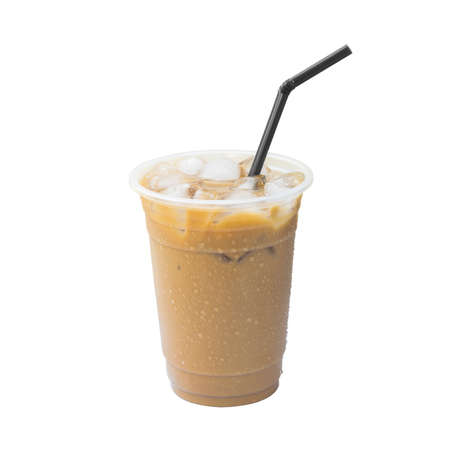 Iced coffee cup isolated white background
