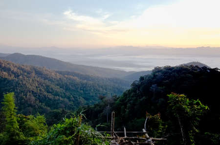 Chiang Dao view point Chiang Mai on the mountain, beautiful view including trees, mountains, grass, sea fog, beautiful in winter.