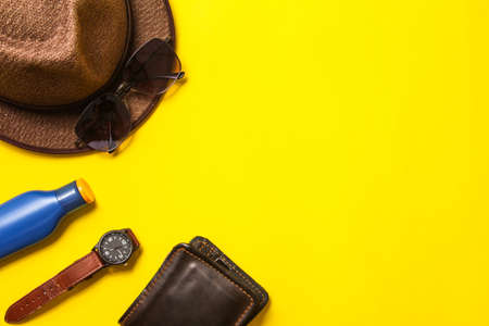 Casual apparel and accessories on a background of yellow paper 版權商用圖片
