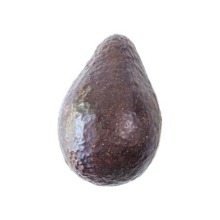 Avocado fruit with peel isolated white background