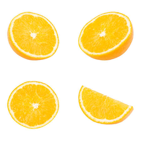 collection Fresh orange fruit isolated white background Foto de archivo