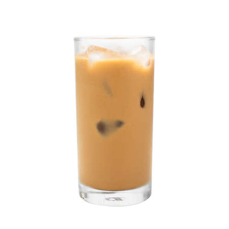 Iced coffee on cup  isolated  white background