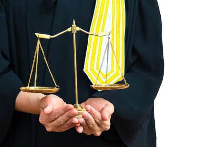 Female lawyer holding Scales of law justice isolated white background. Copy space for your text
