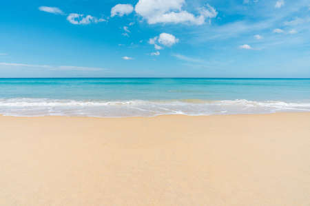 beautiful beach with white sand and blue sky. Seascape at Phuket thailand