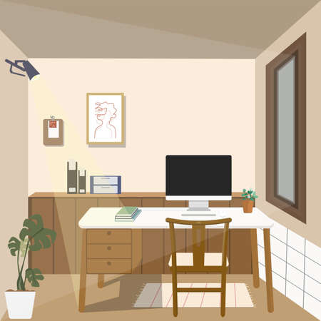 Workplace with Computer, book, tree pot, on table and brown wooden chair, furniture built-in and wood frame decorative, wall is cream color Minimalist Japanese interior design Flat illustration vector