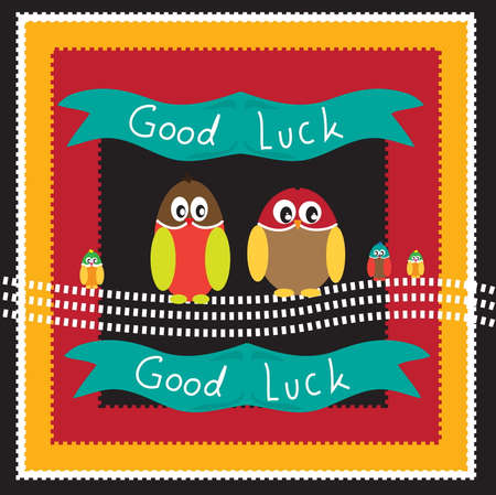 owl background with good luck Vector