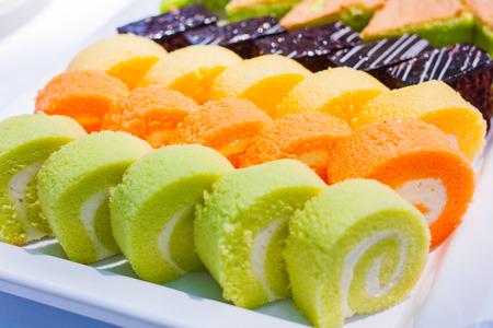 consuetude: Cake Rolls Stock Photo