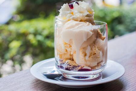 Blueberrry crumbe icecream sundae