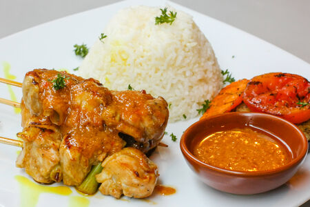 chicken grill with herbs in thai style Stock Photo