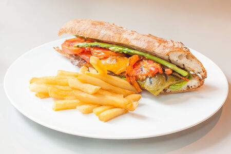 sandwitch: vegetables sandwitch serve with fried pototo good food and healthy for diet and control weight