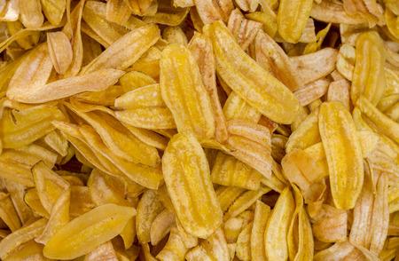 深い揚げた甘いバナナ チップまたはバナナのスライスを乾燥