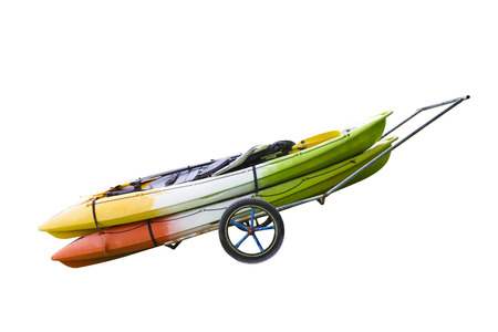 cayak: Kayaks Boat on a Trolley Thailand Stock Photo